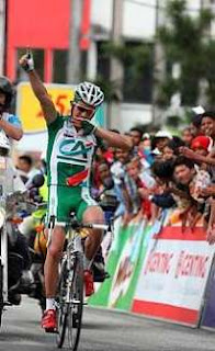 Triumphant: Anthony Charteau rejoices after winning Stage 3 yesterday.