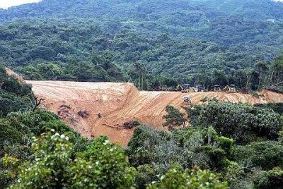 Stripped bare: A view of the land clearing works in Brinchang, Cameron Highlands, from the nearby Strawberry Park Resorts.