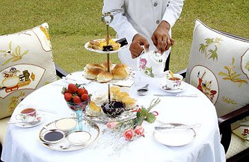 Afternoon Tea Picnic: An employee of the Cameron Highlands Resort prepares a table for classic high tea service. The hotel also offers guided walks of the plantation and a includes a cold tea bath as part of its spa menu.