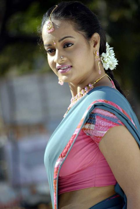 Spicy Surabhi in Red Saree : South Side