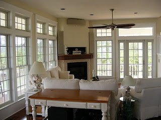 Southern cottages house plans island cottage interior for Living room with 9 foot ceilings