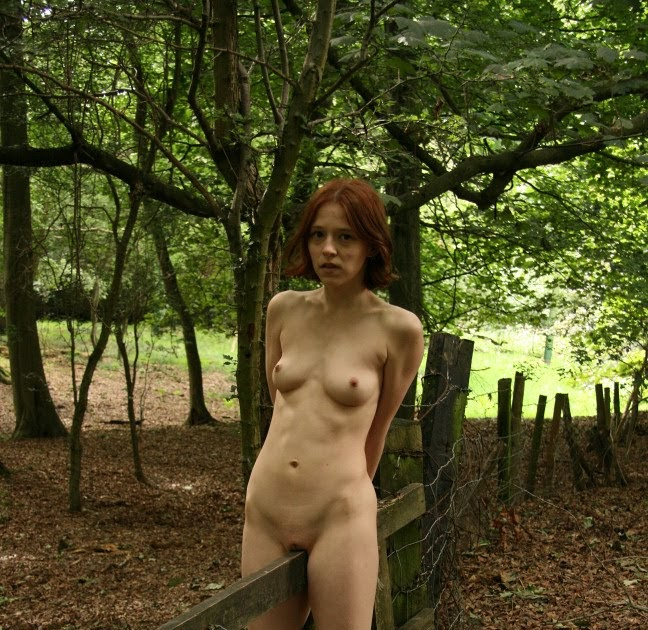Bound redhead on wooden horse vibed