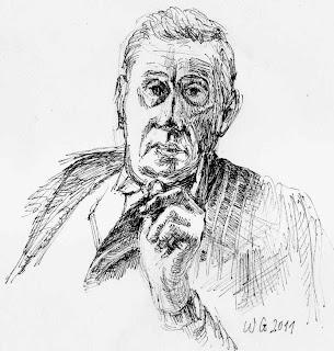 Hannes Androsch, Zeichnung, Tusche, Bleistift