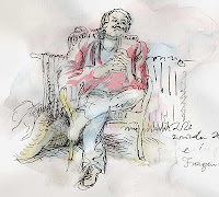 arrogant man on chair drawing zeichnung wolfgang glechner