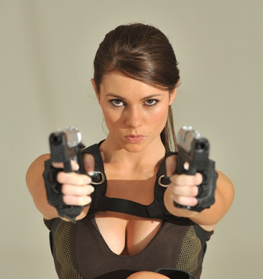 Alison Carroll modelling as Lara Croft.