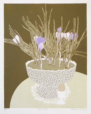 Screen print still life of crocuses and boiled egg