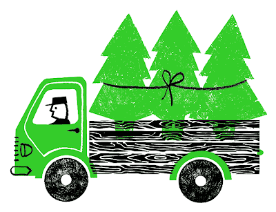 Graphic of truck delivering Norwegian Spruce trees