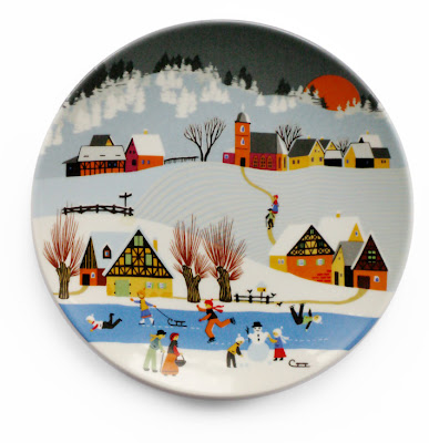 6 inch Poole ceramic plate Barbara Fürstenhöfer winter scene