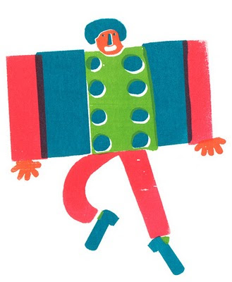 Silkscreened postcard of colourful concertina character by illustrator, Milly Freeman