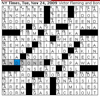Rex parker does the nyt crossword puzzle november 2009 tuesday november 24 2009 malvernweather Gallery