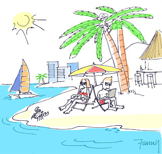 On vacation with laptop