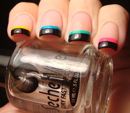 chloe's nails neon black tip funky