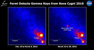 Imagen de los rayos gamma de V407 Cygni obtenida por el telescopio Fermi