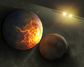 Concepción artística que ilustra una inminente colisión planetaria en torno a un par de estrellas dobles