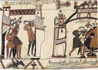 El cometa Halley en una de sus apariciones, en el año 1066, ilustrada en el Tapiz de Bayeux