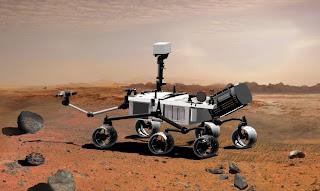 Concepto artístico que ilustra como se verá el rover Curiosity en Marte