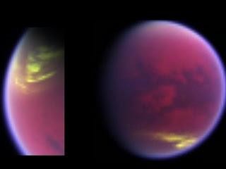 Imagen en falso color de las nubes desapareciendo en el polo norte de Titán, mientras que otras aparecen en las latitudes medias del sur