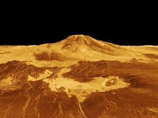 Perspectiva 3D del volcán venusiano Maat Mons generado a partir de los datos de radar de la misión Magellan de la NASA
