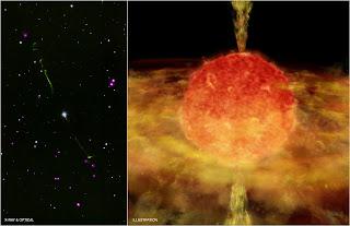 Izquierda: imagen en longitudes de onda ópticas e infrarrojas de BP Psc, en la que se ven claramente los chorros que emite. Derecha: Impresión artística de BP Psc