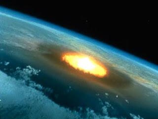 Ilustración artística de un hipotético impacto de asteroide