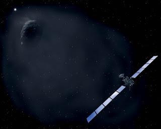 Concepto artístico de la sonda Rosetta aproximándose al cometa 67P/Churyumov-Gerasimenko en 2014