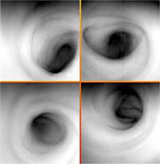 Conjunto de imágenes del vórtice del polo sur de Venus. Las imágenes muestran la temperatura de las nubes superiores a cerca de 65 kilómetros de altitud. Una región más oscura corresponde a un aumento de temperatura y una altitud por lo tanto inferior.