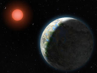 Ilustración que muestra los cuatro planetas interiores del sistema Gliese 581 y su estrella