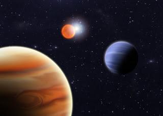 Concepto artístico que muestra los dos nuevos planetas descubiertos orbitando alrededor de la estrella binaria NN Serpentis