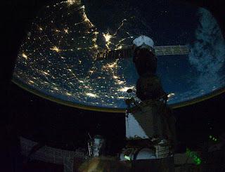 Fotografía de la costa norte del Golfo de México tomada por la tripulación de la estación espacial a una altitud de 350 kilómetros