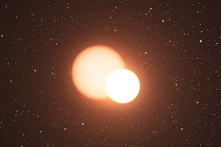 Impresión artística de la estrella doble OGLE-LMC-CEP0227