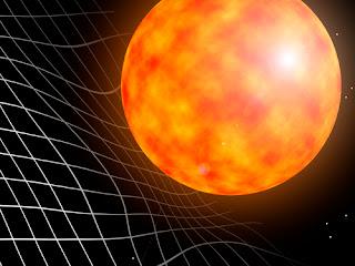 Ilustración artística de una estrella deformando el espacio-tiempo