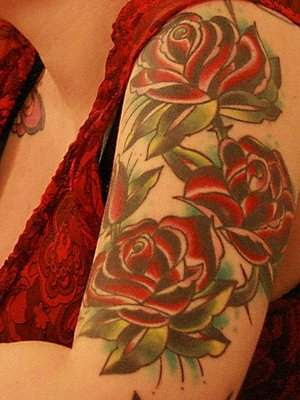 Tattooed Woman in red, Red Roses.