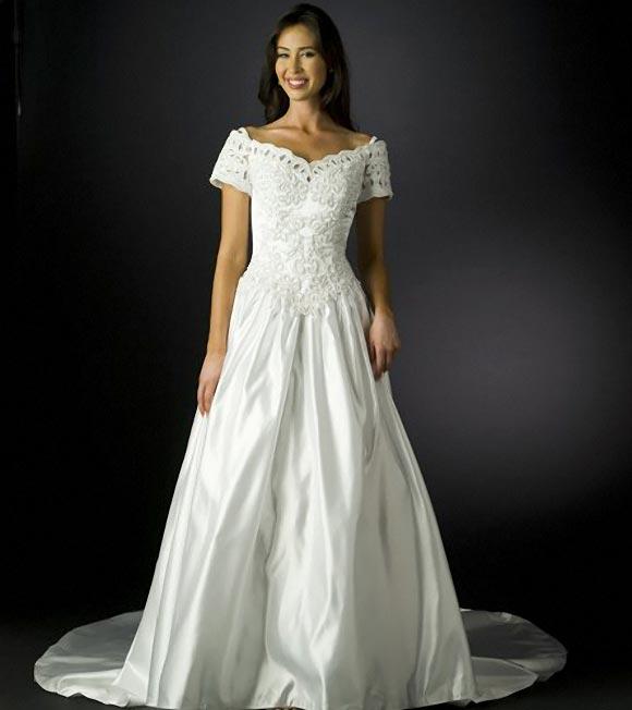 White Floral Wedding Dress Gown Sean Collection floral wedding dress