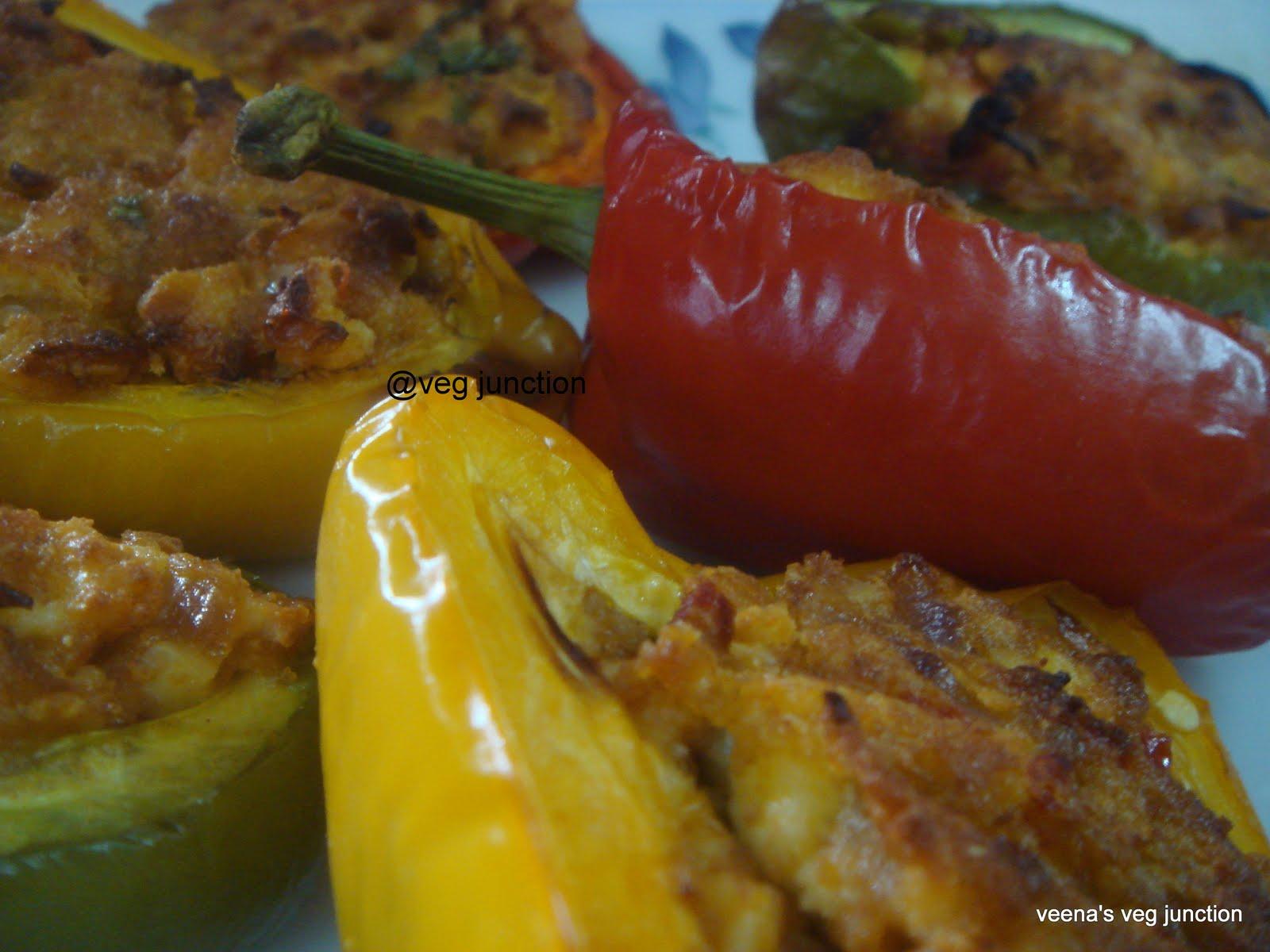 Paneer stuffed Bell Pepper Boats – Veenas Vegnation