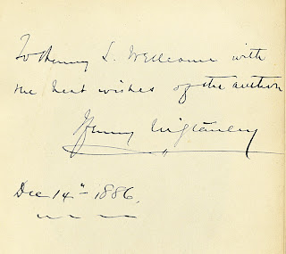 Inscription from Henry Wellcome's personal copy of Stanley's THE CONGO