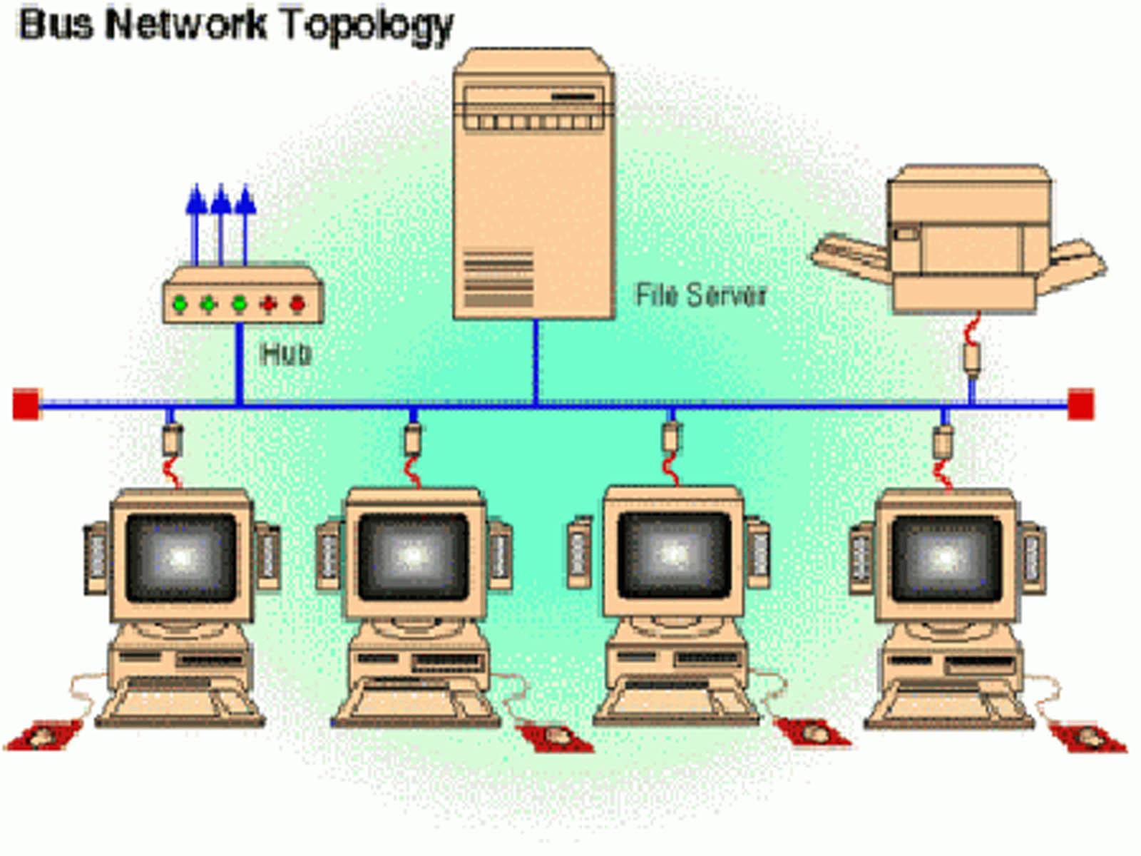 macam macam topologi jaringan pada komputer topolgoi bus