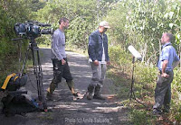 interviewing bird flock researcher Dr. Eben Goodale at Eastern Sinharaja