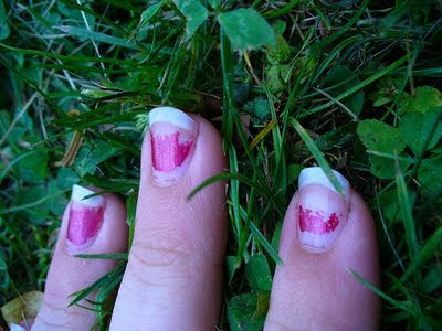 chipped pink nail polish
