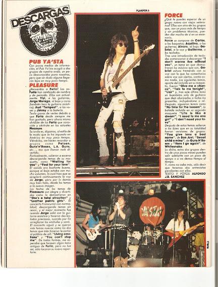 Artículo sobre Force en la revista Heavy Rock nº 73 (Septiembre de 1.989):