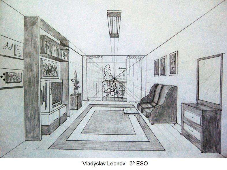 Plastica perspectiva c nica - Habitacion en perspectiva conica ...