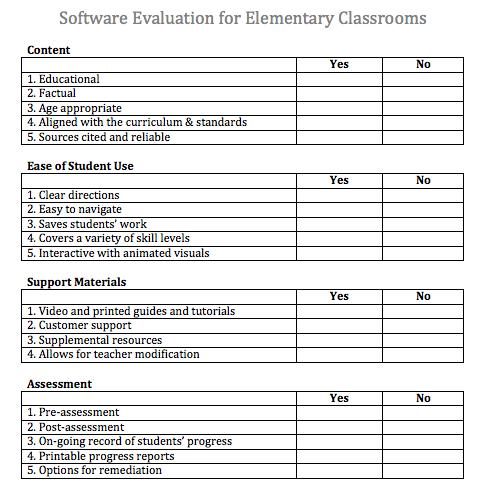 Fledgling Software Evaluation Form – Software Evaluation
