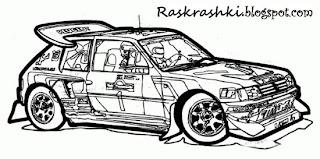 Раскраска гоночной машины пежо