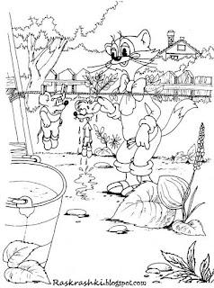 Раскраска кот Леопольд и мыши