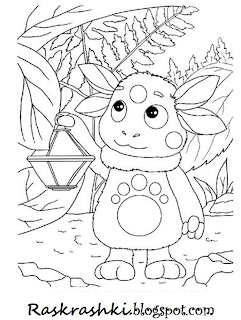 Раскраска для детей Лунтик с фонариком