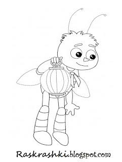 Раскраска пчеленка из мультика про Лунтика