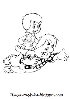 Разукраска из мультика Малыш и Карлсон