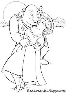 Раскрашка для детей Шрек и Феона