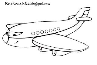 Разукрашка самолет для малышей