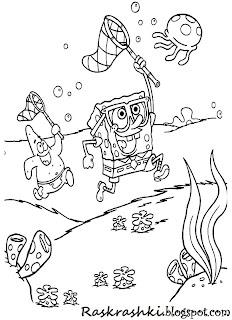 Детские Раскрашки Губка боб
