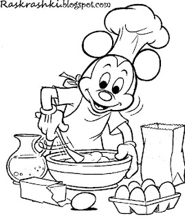 Раскрашка из мультика Микки Маус